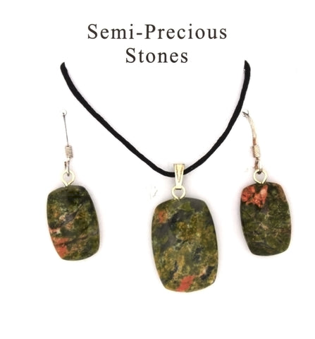 SET CORDED GEMSTONE UNAKITE RECTANGLE EARRING & NECKLACE