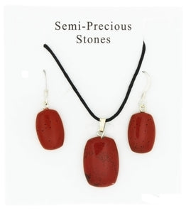 SET CORDED GEMSTONE RED JASPER RECTANGLE EARRING & NECKLACE