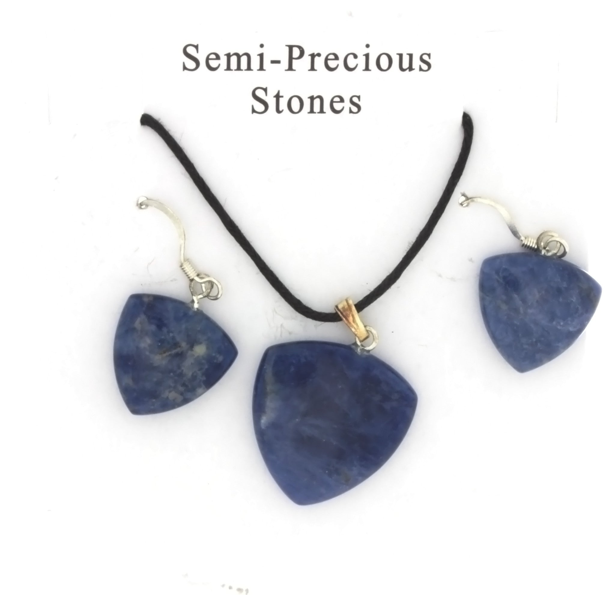 SET CORDED GEMSTONE SODALITE TRILLION EARRING & NECKLACE