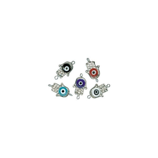 BEADS CONNECTORS EVIL EYE AND HAND (3 ASSORTED)