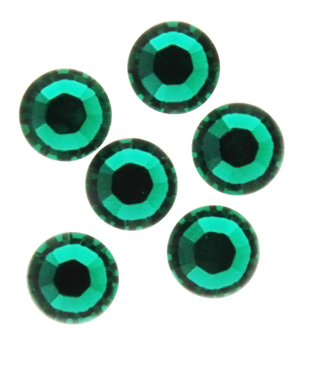 RHINESTONE EMERALD ROUND FACETED GEMS (1 DOZ)