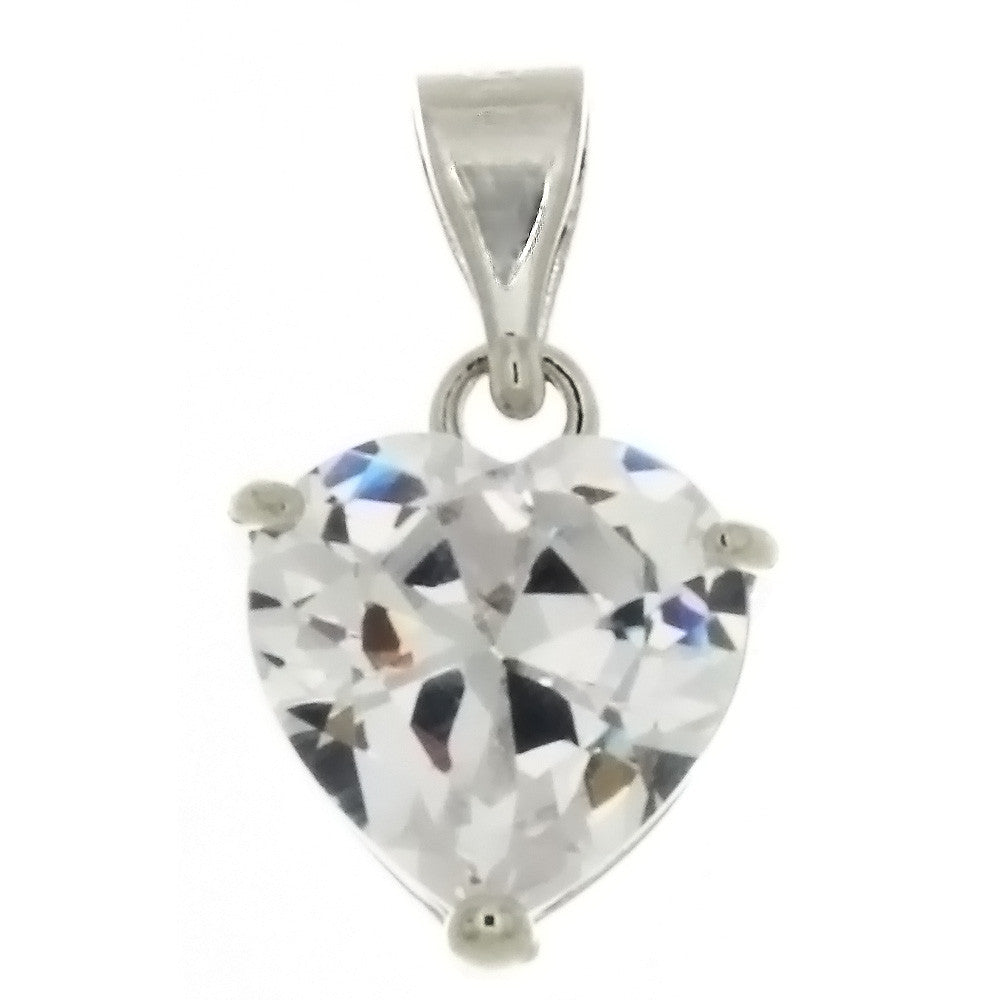CZ HEART CLEAR 10 MM PENDANT