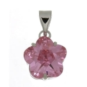 CZ FLOWER PINK 10 MM PENDANT