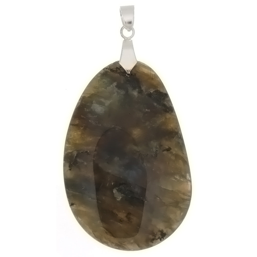 GEMSTONE LABRADORITE FREEFORM 35 X 50 MM PENDANT
