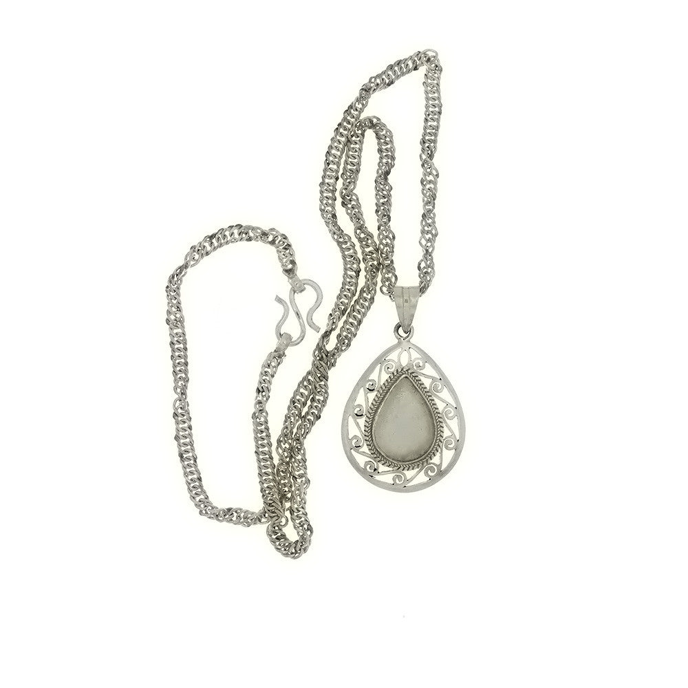 CHAIN CABOCHON TEARDROP 13 X 16 MM SS NECKLACE