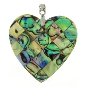 NATURAL ABALONE HEART 35 MM PENDANT