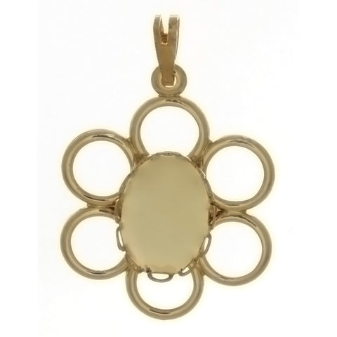 CABOCHON FLOWER 10 X 14 MM PENDANT