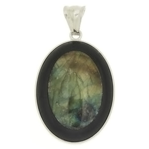 GEMSTONE LABRADORITE OVAL FRAMED BLACK STONE 30 X 40 MM PENDANT