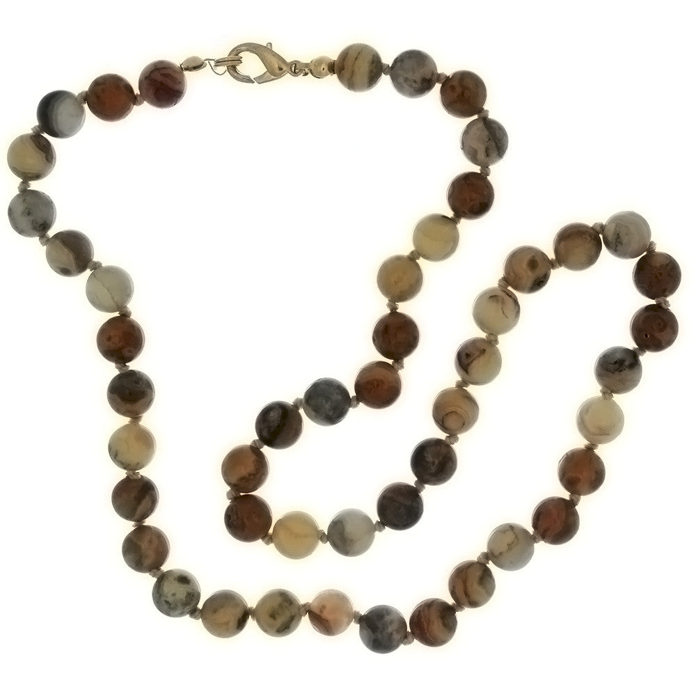 BEADED GEMSTONE CRAZY LACE AGATE ROUND NECKLACE