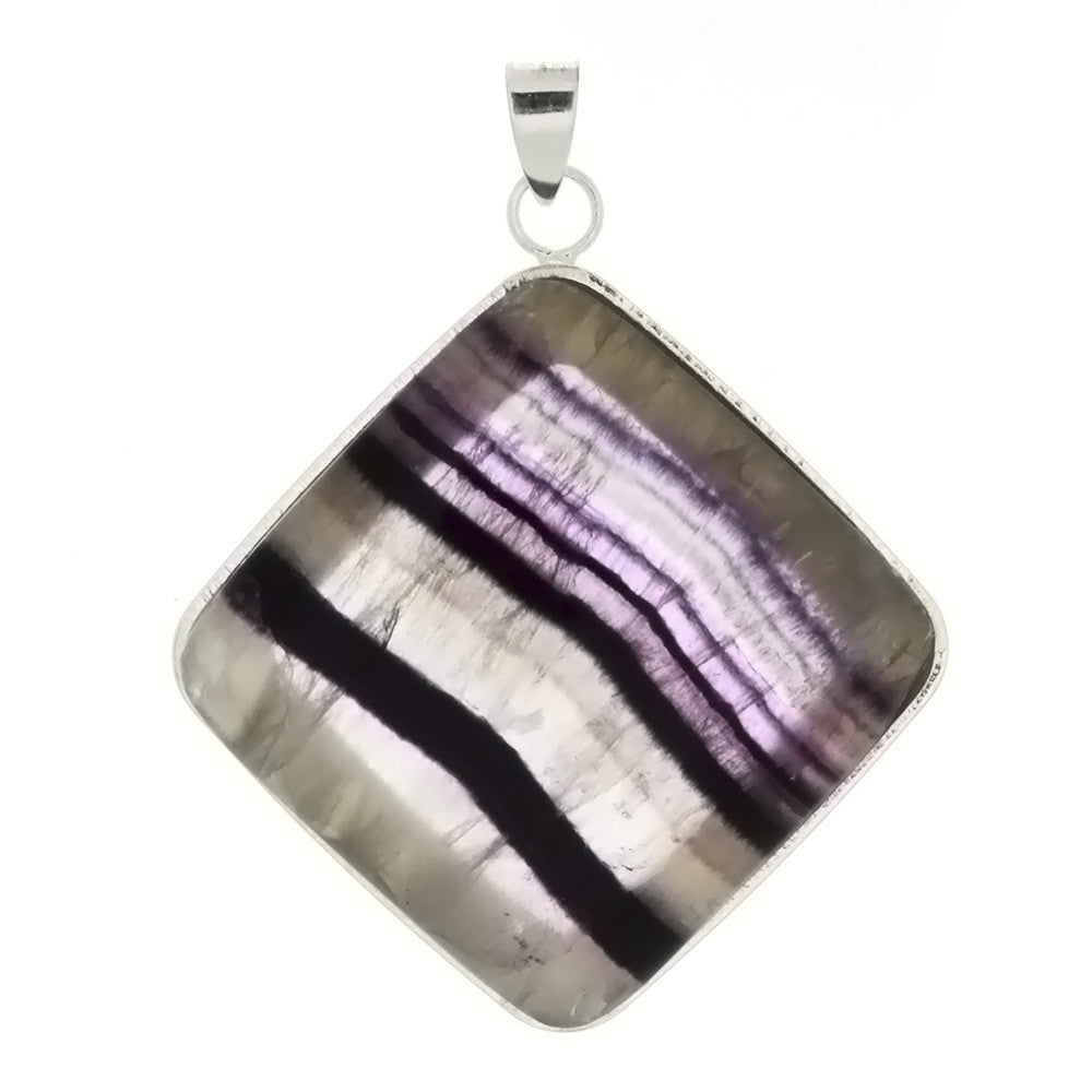 GEMSTONE FLUORITE DIAMOND 38 MM PENDANT
