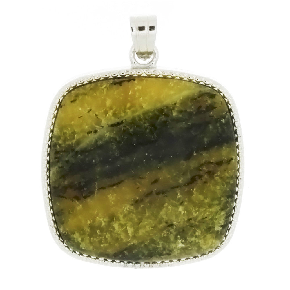 GEMSTONE TURQUOISE YELLOW SQUARE FRAMED 35 MM PENDANT