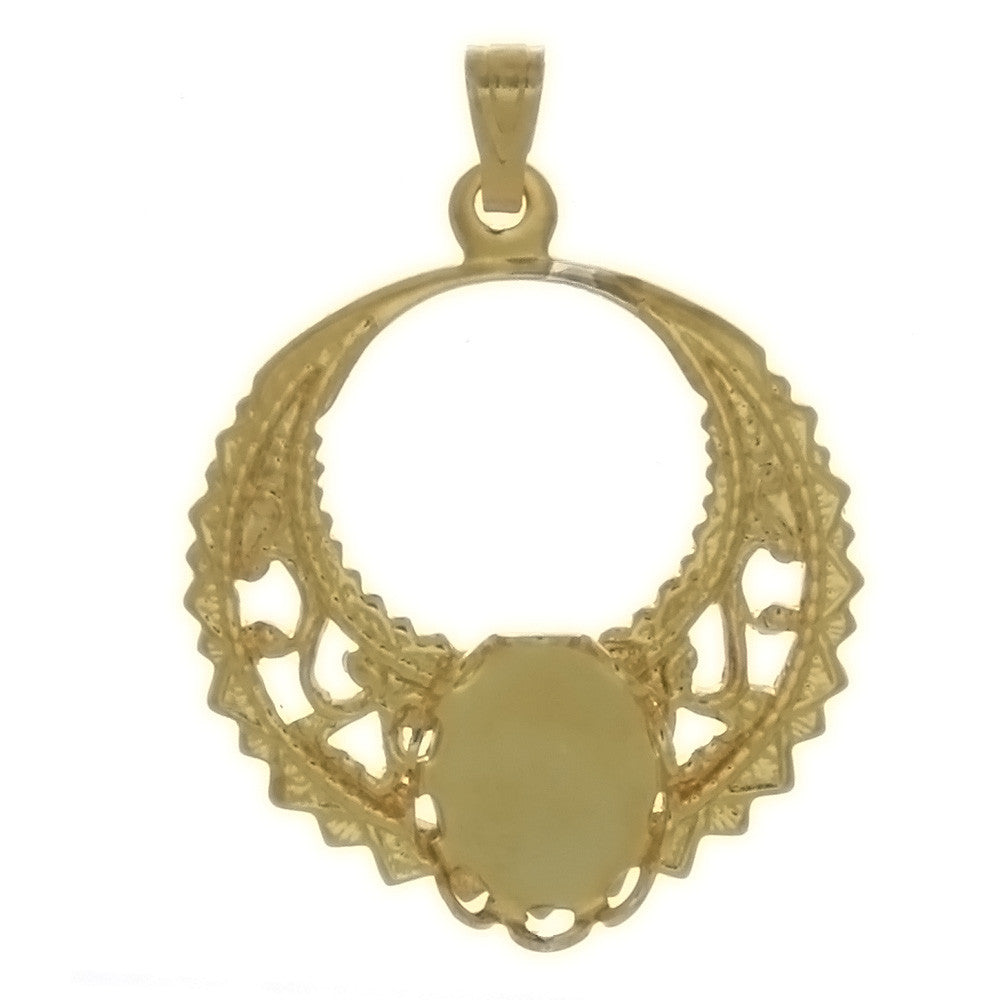Cabochon Setting Filigree Pendant Holds 8x10 mm Cabochon