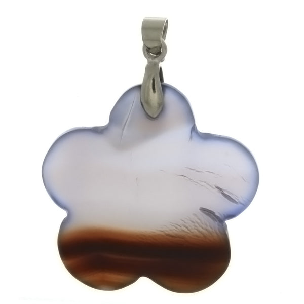 GEMSTONE AGATE NATURAL FLOWER 30 MM PENDANT