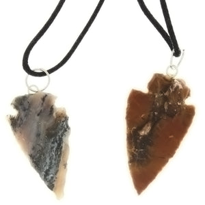 NECKLACE NATURAL AGATE 44 MM ARROWHEAD