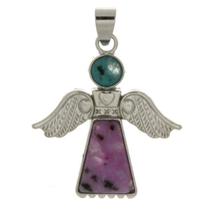 METAL ANGEL KIWI STONE 30 MM PENDANT
