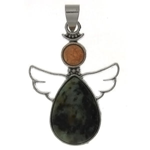 METAL ANGEL GUARDIAN AFRICAN TURQUOISE 28 X 38 MM PENDANT