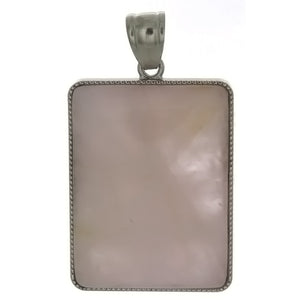 GEMSTONE QUARTZ ROSE RECTANGLE 30 X 40 MM PENDANT