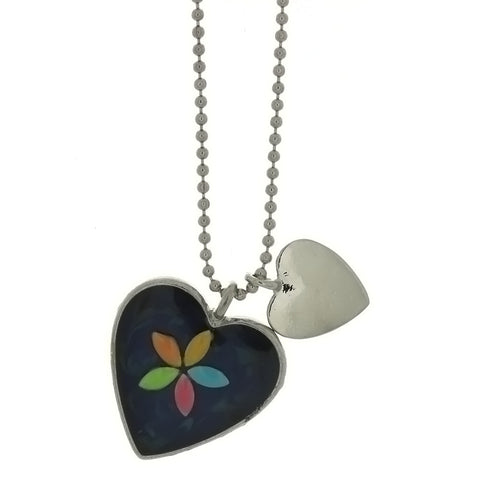 CHAIN CHARM MOOD HEART W/ FLOWER NECKLACE