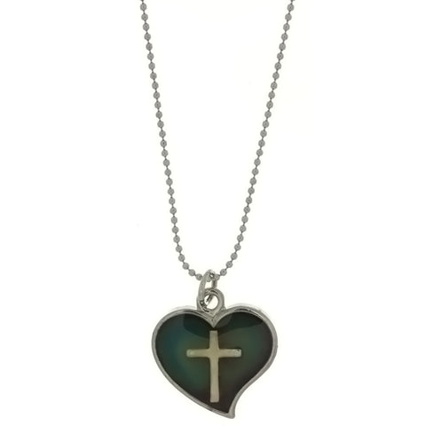 CHAIN CHARM MOOD HEART W/ CROSS NECKLACE