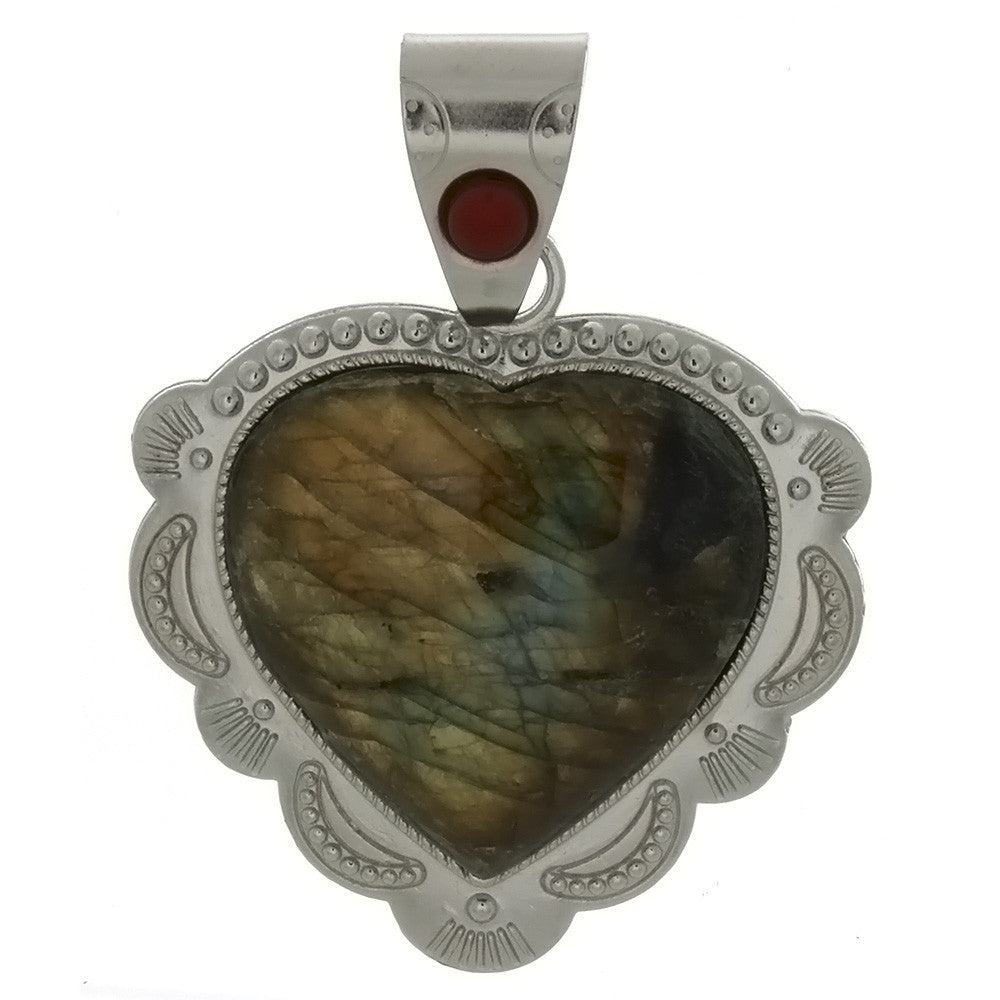 GEMSTONE LABRADORITE HEART FRAMED 27 X 27 MM PENDANT