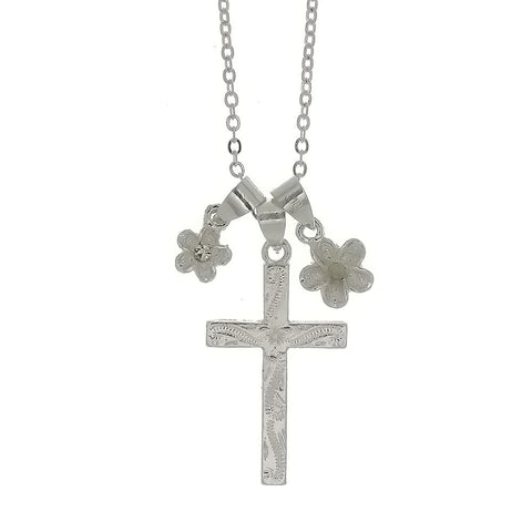 CHAIN CHARM CROSS & FLOWER NECKLACE