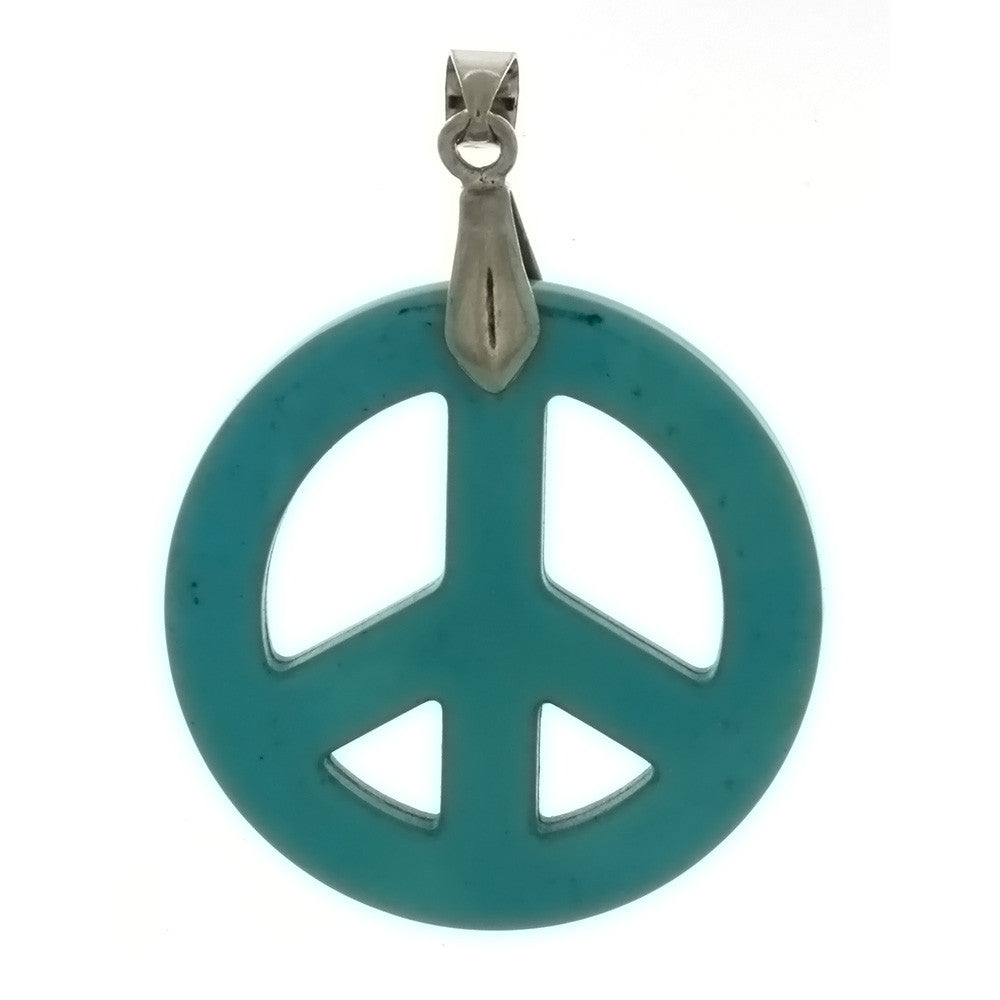 GEMSTONE DYED MAGNESITE PEACE SIGN 32 MM PENDANT