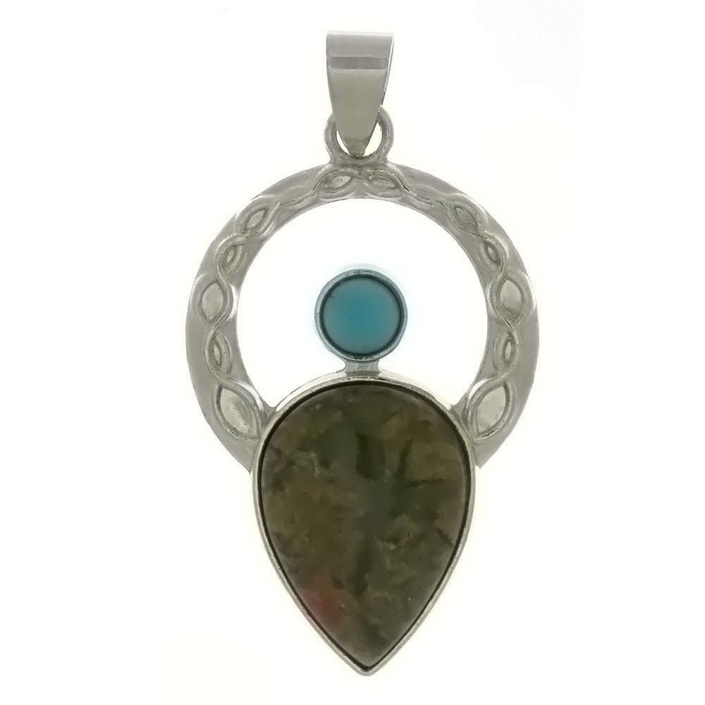 METAL ANGEL CELTIC UNAKITE PENDANT