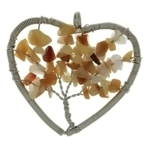 METAL TREE OF LIFE HEART 40 MM PENDANT