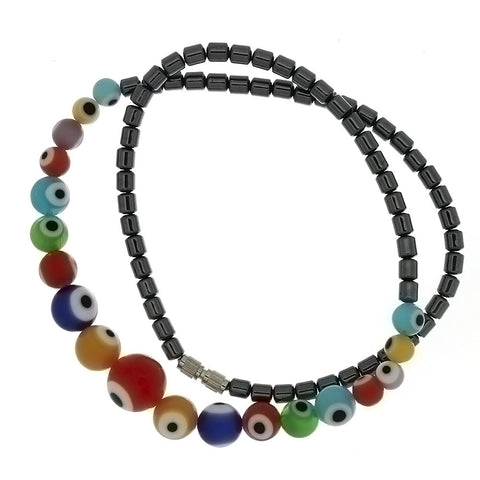 BEADED GEMSTONE HEMATITE W/ EVIL EYE NECKLACE
