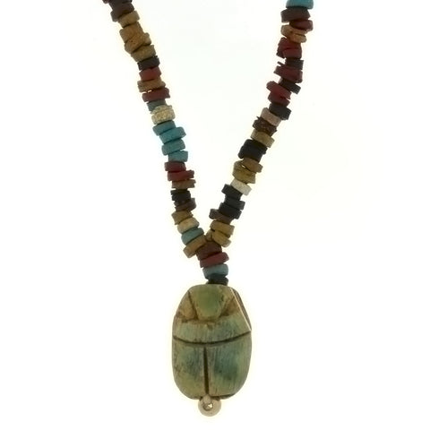 BEADED NATURAL MUMMY W/ SCARAB NECKLACE