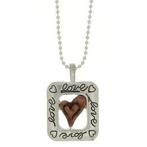 CHAIN CHARM HEART & LOVE NECKLACE