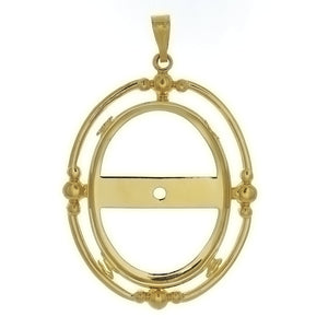 Cabochon Setting Pendant Holds 30x40 mm Oval Cabochon