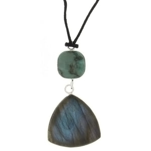 CORDED GEMSTONE LABRADORITE TRILLION  W/ LAGUNA LACE AGATE NECKLACE