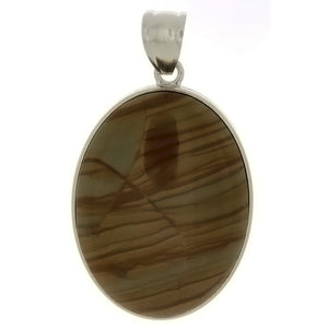 GEMSTONE JASPER PICTURE OVAL 30 X 40 MM PENDANT