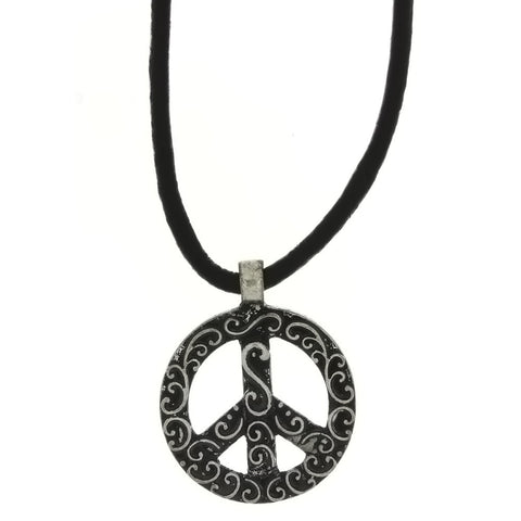 CORDED CHARM PEACE SIGN NECKLACE