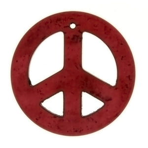 GEMSTONE DYED MAGNESITE PEACE SIGN 33 MM PENDANT