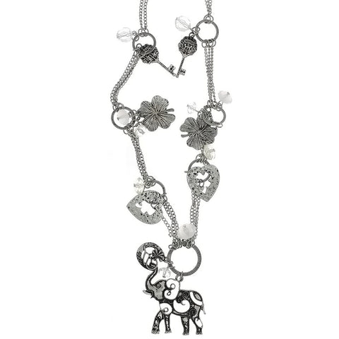 CHAIN CHARM ELEPHANT SILVER NECKLACE