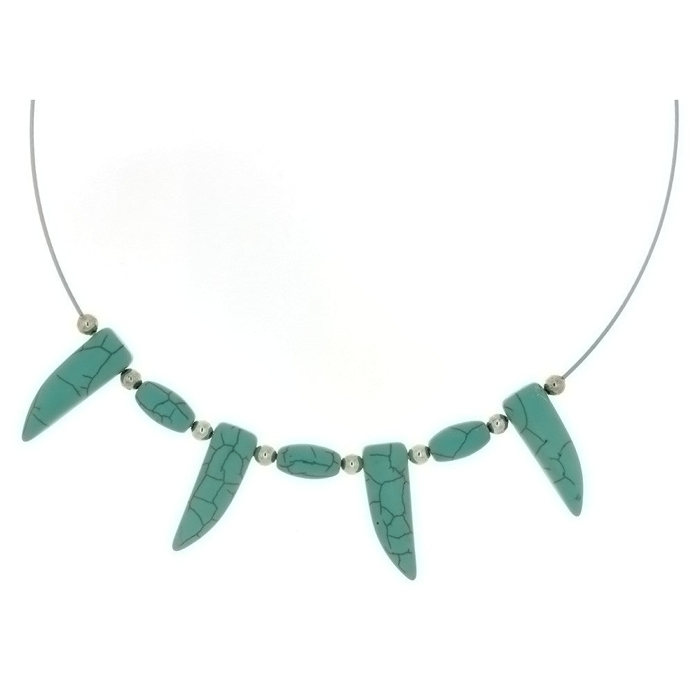 CORDED GEMSTONE TURQUOISE MAGNESITE TOOTH NECKLACE