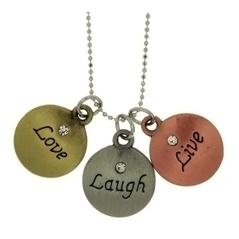 CHAIN CHARM INSPIRATIONAL MESSAGE NECKLACE