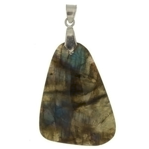 GEMSTONE LABRADORITE FREEFORM 35 X 45 MM PENDANT