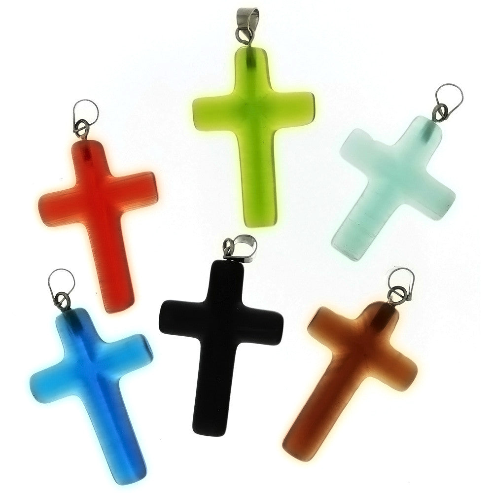 GLASS DALE STONE CROSS 20 X 30 MM PENDANT (6)