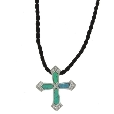 CORDED CHARM CROSS LAB OPAL NECKLACE