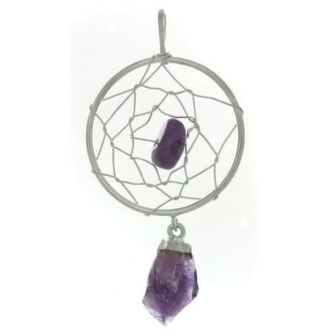 METAL DREAMCATCHER W/ AMETHYST NUGGET 30 MM PENDANT