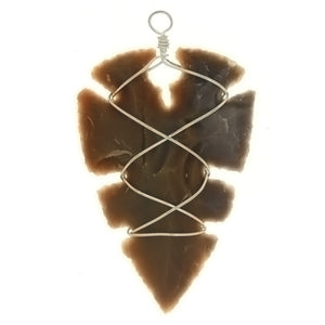 PENDANT NATURAL AGATE 2 IN ARROWHEAD