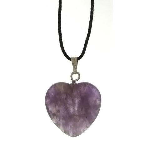 CORDED GEMSTONE AMETHYST HEART NECKLACE