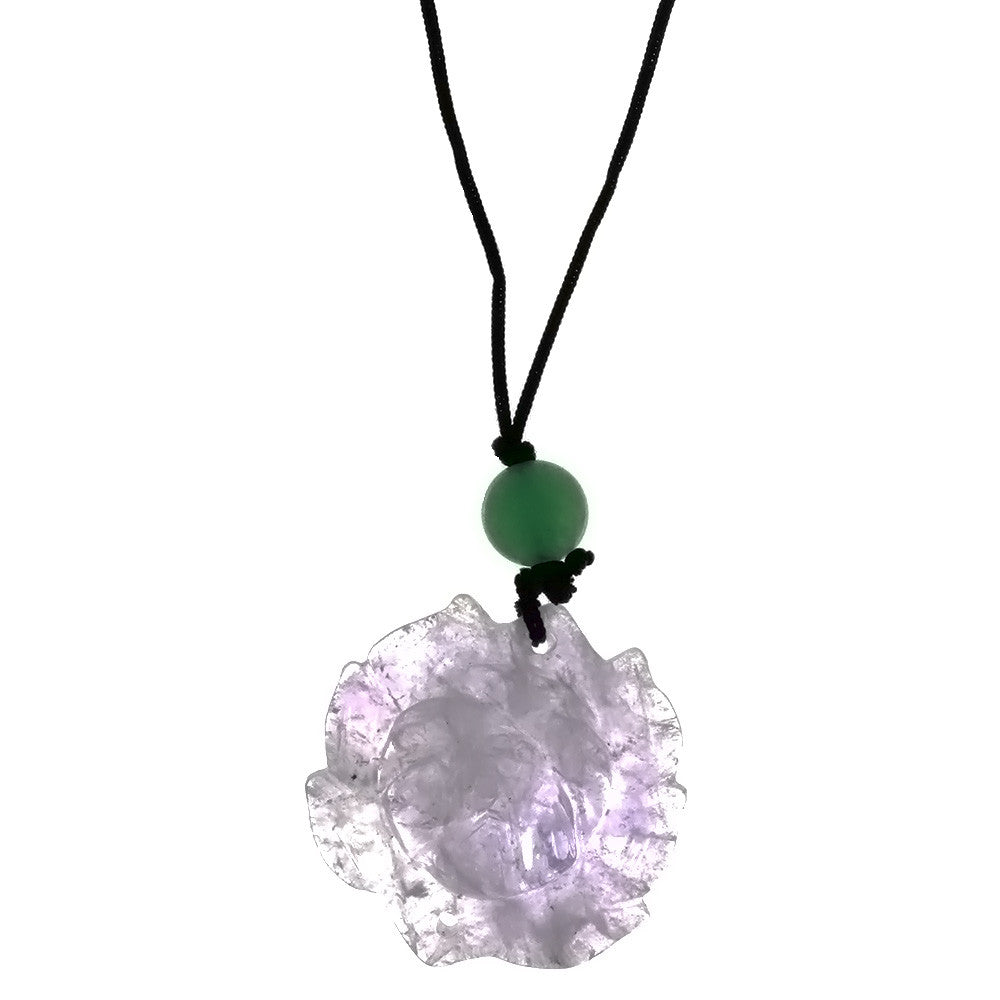 CORDED GEMSTONE AMETHYST LOTUS NECKLACE