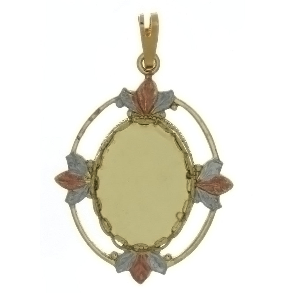 CABOCHON FRAMED LEAF 13 X 18 MM PENDANT