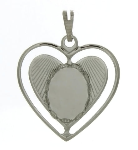 Cabochon Setting Heart Pendant Holds 10x14 mm Oval Cabochon