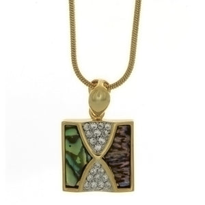 CHAIN CHARM ABALONE & SWAROVSKI NECKLACE