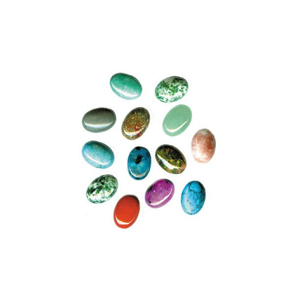 CABOCHON  10X14MM OVAL ASSORTED (12 STONES)